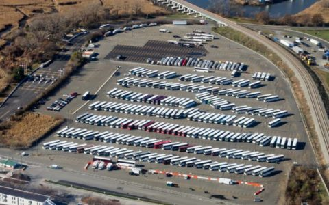 TMS providing evacuation support at Hurricane Sandy (2012) in NJ, VSA at Met Life Stadium. Image property of Transportation Management Services